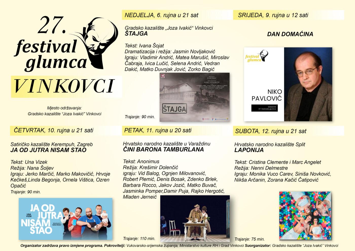 27. Festival glumca, Vinkovci